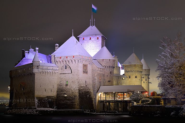 Chateau Chillon in Winter Night