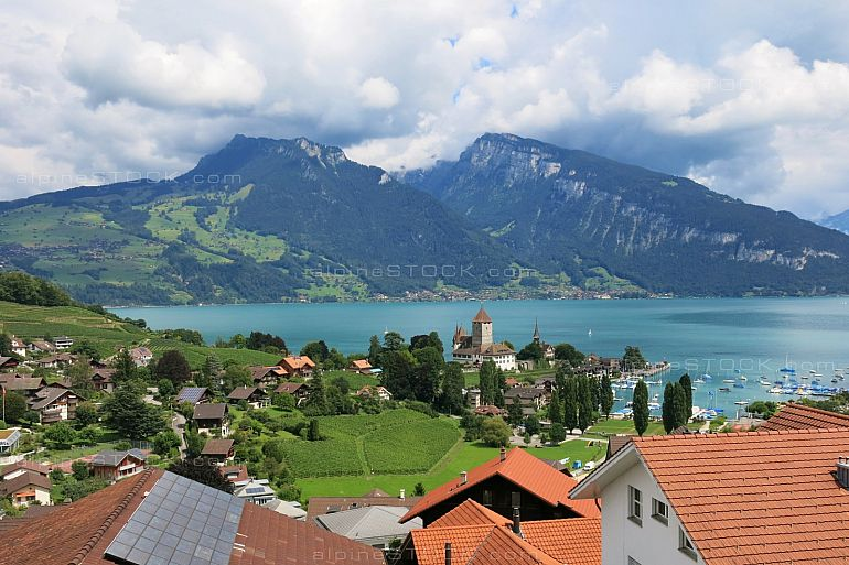 Spiez, village at lake Thunersee