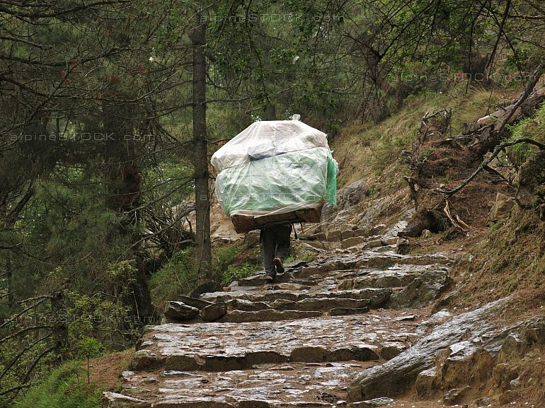 Porter carrying a heavy load in the Everest Region
