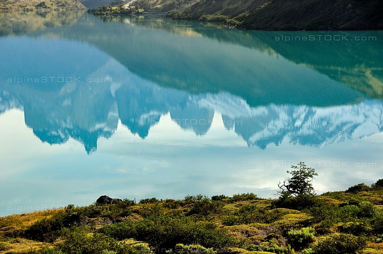 Rio Pehoe reflects like a mirror, Torres del Paine national park, Chile