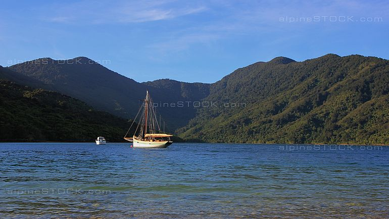 Sailing boat in the Endeavour Inlet