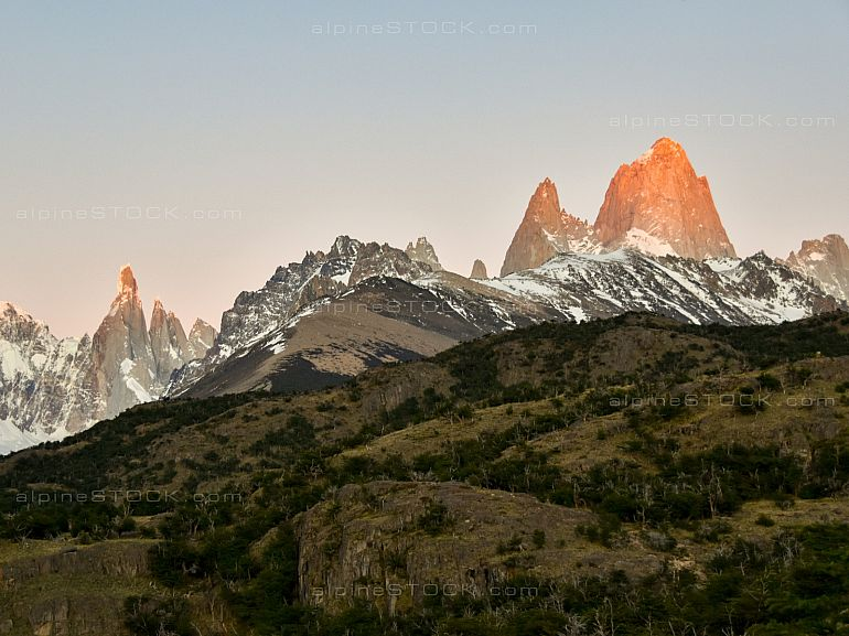 sunrise at Mt. Fitz Roy and Cerro Torre