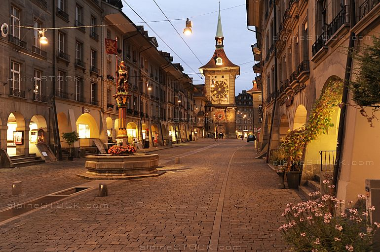 Alley to Clock tower by night at Bern