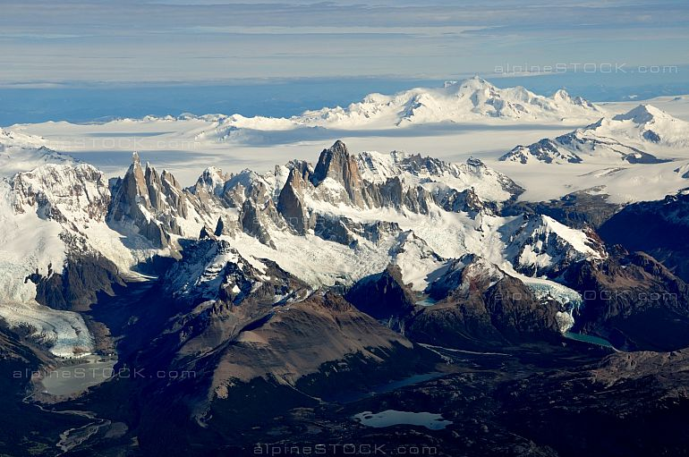 aerial view of mountains Fitz Roy, Cerro Torre, volcano Lautaro and the southern patagonian ice field