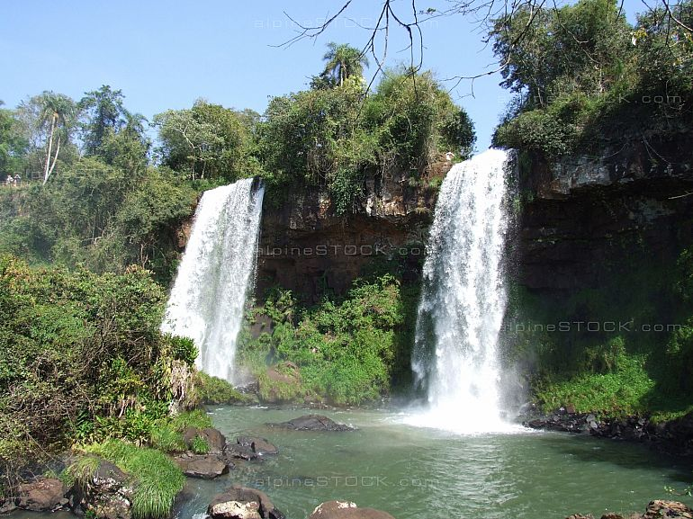 View of the twin falls at UNESCO world heritage Iguazu falls