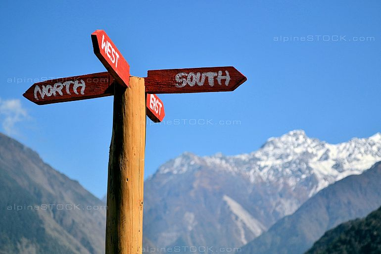 signpost with all cardinal directions