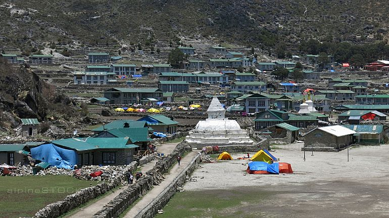 Scene in Khumjung after the recent earthquakes