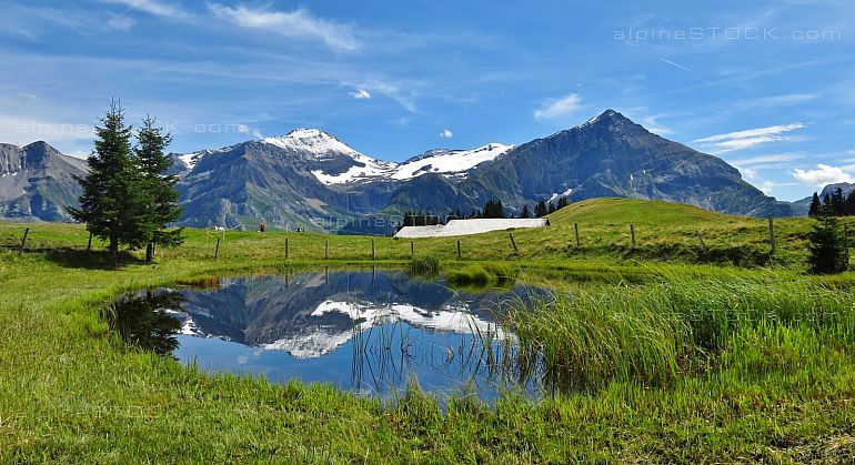 Spitzhorn and pond scene near Gstaad