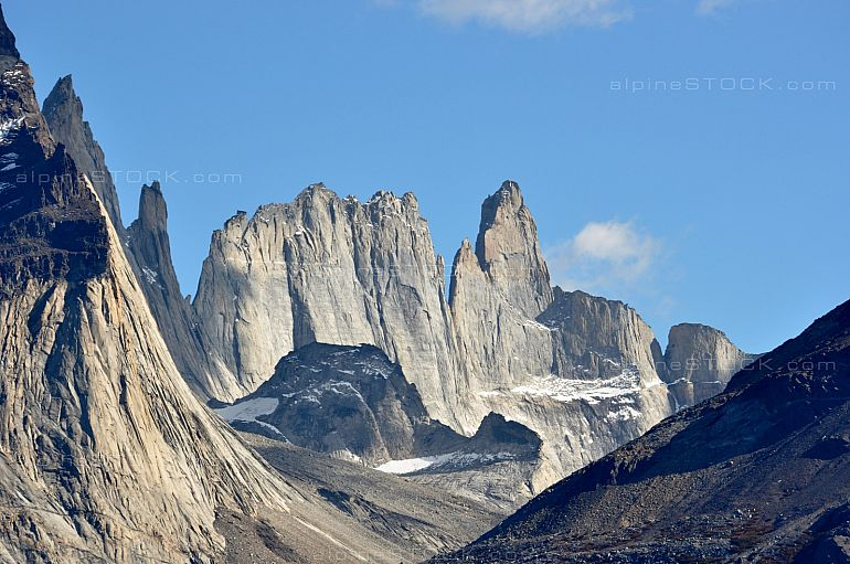 Steep rock faces at Torres del Paine