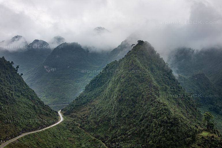 mountain landscape at ha giang loop in northern vietnam