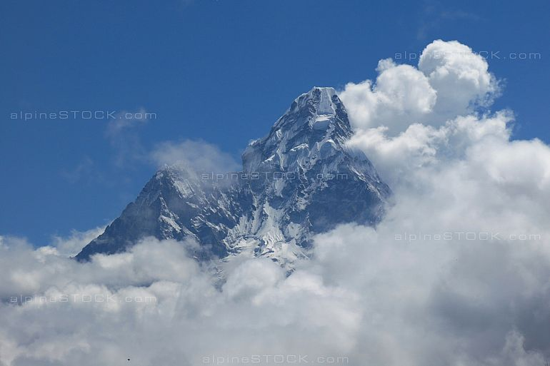Ama Dablam surrounded by clouds