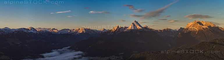 panoramic view of Berchtesgaden alps at sunrise