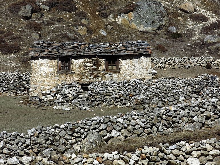 Small stone hut in the Everest Region