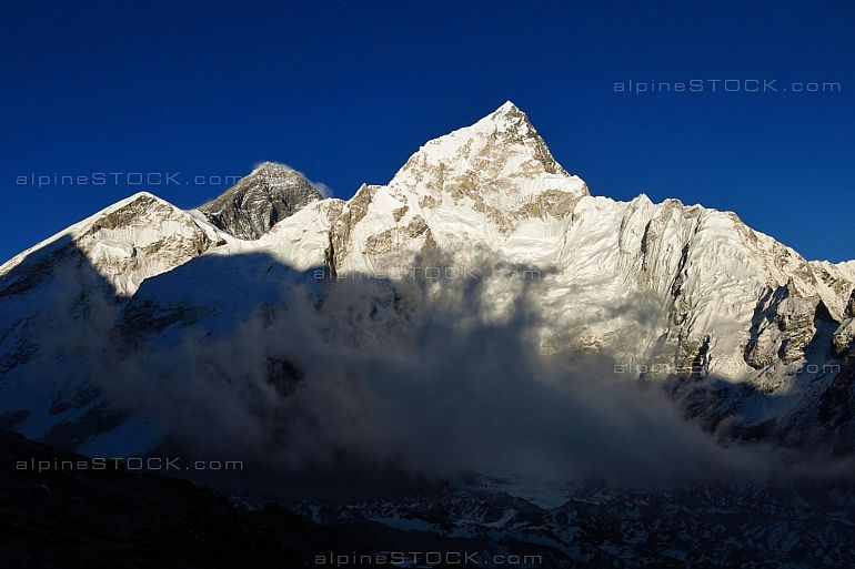 Mt Everest and Nuptse just before sunset