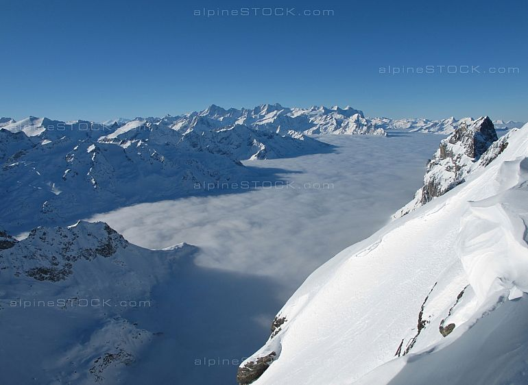 Sea of fog and mountain panorama from the Titlis