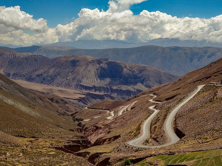 winding road up the andes mountains