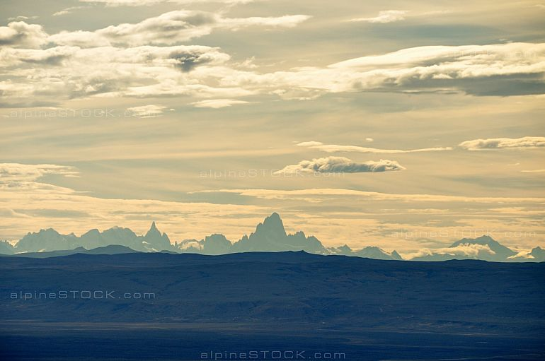 distant view of Mt. Cerro Torre and Fitz Roy, Patagonia, Argentina