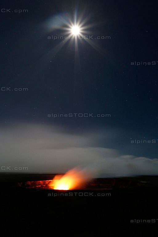 Halemaumau Crater Glow by full moon