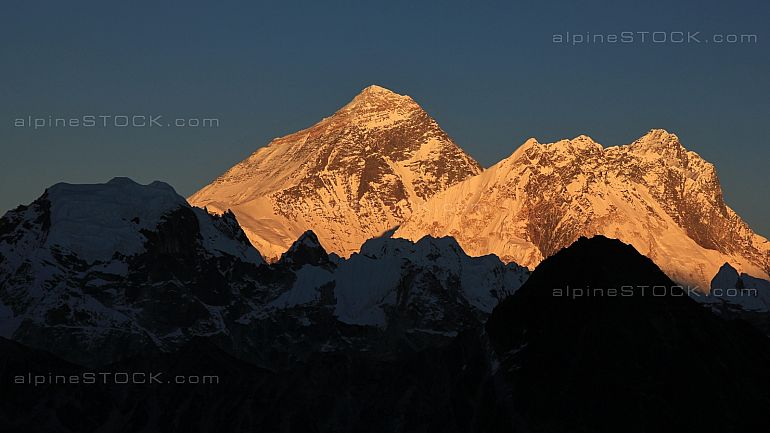 Illuminated peaks of mount Everest and Lhotse
