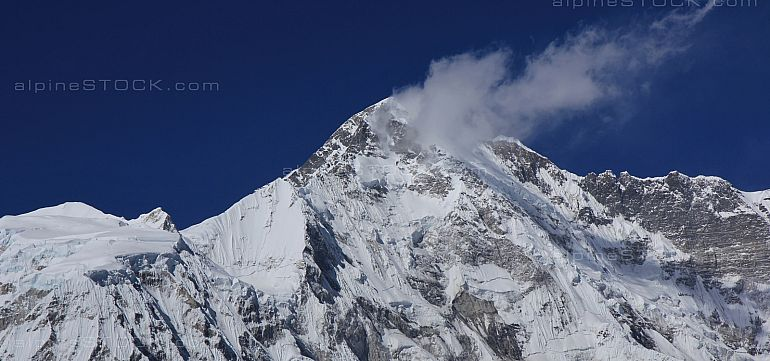 Peak of mount Cho Oyu covered by glacier.