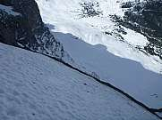 Looking down from Eiger Heckmair route near Death bivak