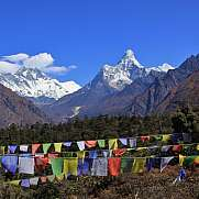 Snow capped mountains Lhotse and Ama Dablam.