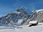 Ortstock mountain in Braunwald in winter
