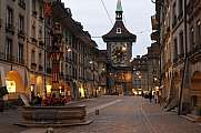 Alley to Clock tower by night at Bern Switzerland