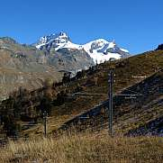 Power poles of the train to the Gornergrat