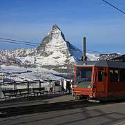 Railway station on the Gornergrat and Matterhorn