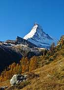 Matterhorn on a sunny autumn day Larch trees