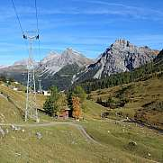 Autumn scene in Arosa cablecar pillar