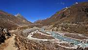 Trekking trail following the Bhote Kosi, river in the Everest Na