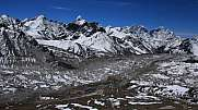 Khumbu Glacier and lodges in Gorak Shep