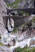 Devil's bridge at St. Gotthard pass on the Swiss alps