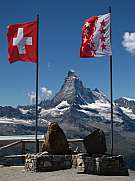 Flags Of Switzerland And Canton Valais  Matterhorn