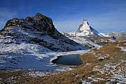 Morning scene Gornergrat Matterhorn and lake Riffelsee