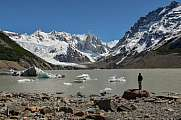Hiker at Laguna Torre with Cerro Torre, Patagonia