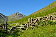 Wooden fence gate Wasdale Head, Great Gable, Lake District