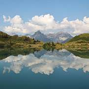 Summer scene at lake Trubsee, Swiss Alps