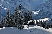 Winter scene in Braunwald with snowy hut