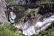 Creek and Devil's bridge at St. Gotthard pass