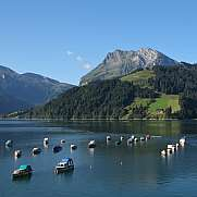 Fishing boats on lake Wagital, Schwyz Canton