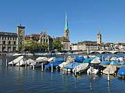 Boats on the Limmat and Fraumuenster Zurich