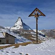 Catholic cross on the Riffelberg and Matterhorn