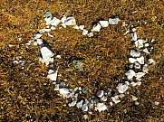 white pebble stones shaped as a heart