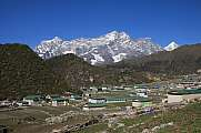 Village Khumjung and snow capped Kongde Ri