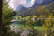 beautiful mountain scenery at lake Hintersee, bavarian alps