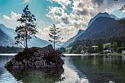idyllic lake Hintersee at Berchtesgaden alps Reither Alm