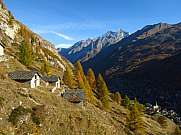 Autumn landscape in Zermatt and huts with stone roof